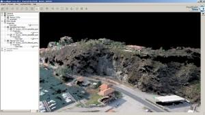 Parete di roccia oggetto dello studio (dettaglio della nuvola di punti 3D)